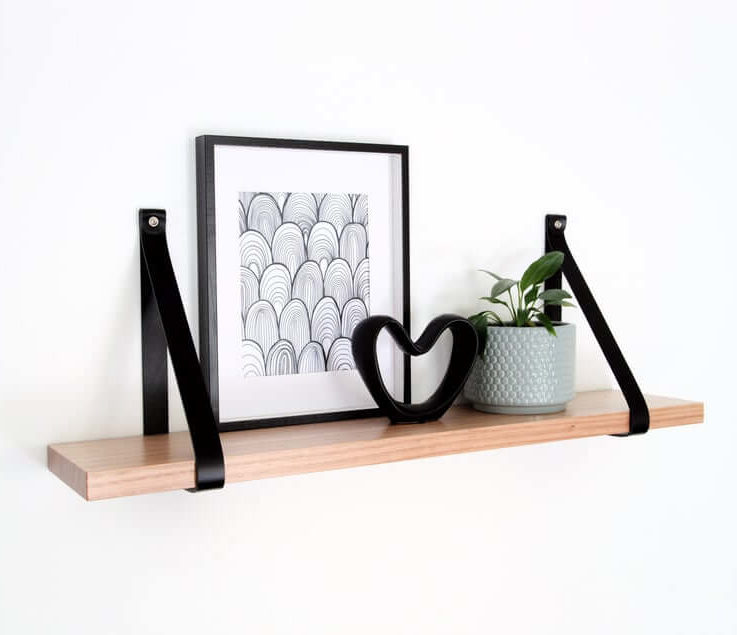 Leather Strap Shelf Timber Shelves Wooden Shelf with Leather Strap