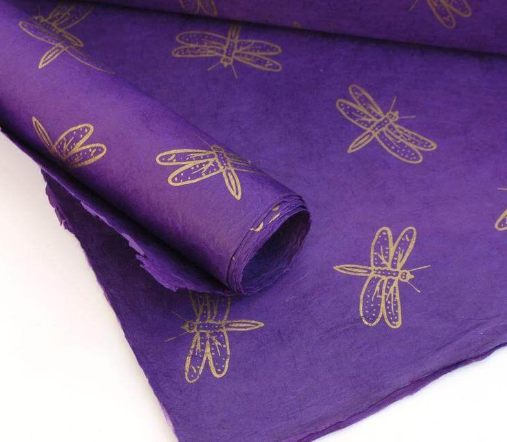 Lokta Wrapping Paper, Gold Dragonfly on Purple Dye, Hand made and Fair Trade