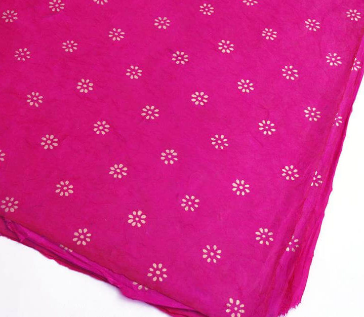 Lokta Wrapping Paper, Gold Flowers on Cerise, Hand made and Fair Trade