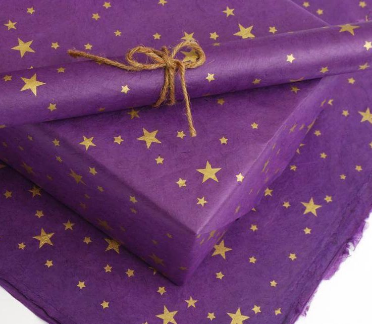 Lokta Wrapping Paper, Gold Stars on Hand made and Fair Trade Paper, Purple