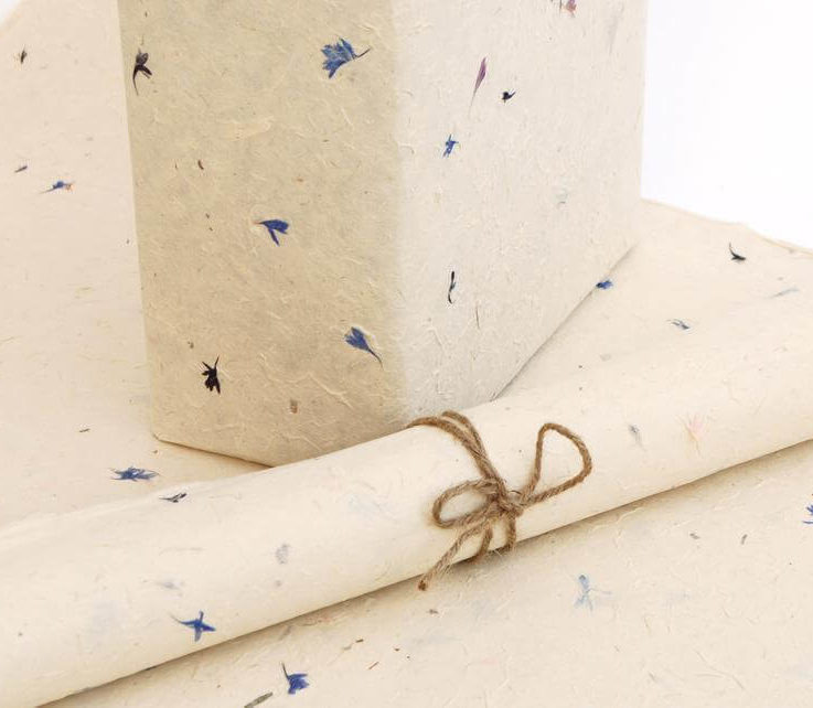 Lokta Wrapping Paper with Cornflower Petals, Hand made and Fair Trade