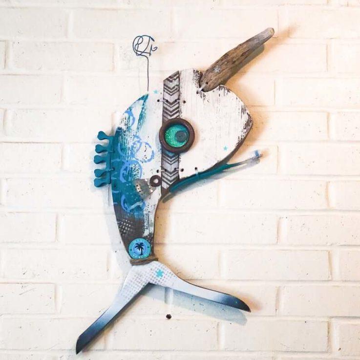 Maui Narwhal, Driftwood Wall Art, Aqua, Blue, White, Silver, Reclaimed Wood, pesce, pescado