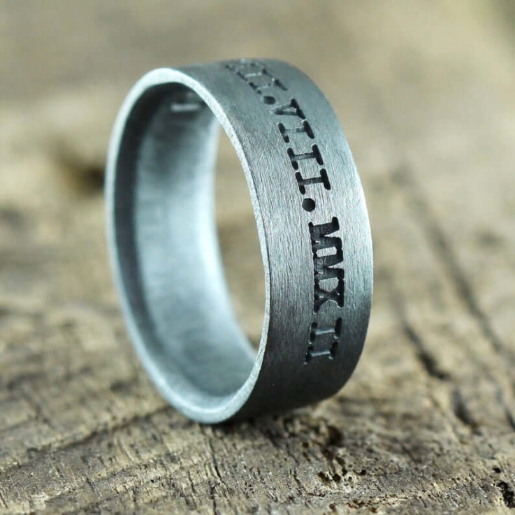 Mens Custom Words STERLING SILVER Matte Black Wedding Band, Comfort Fit Brushed Silver Wedding Ring Man, Personalized Guys Wedding Jewelry