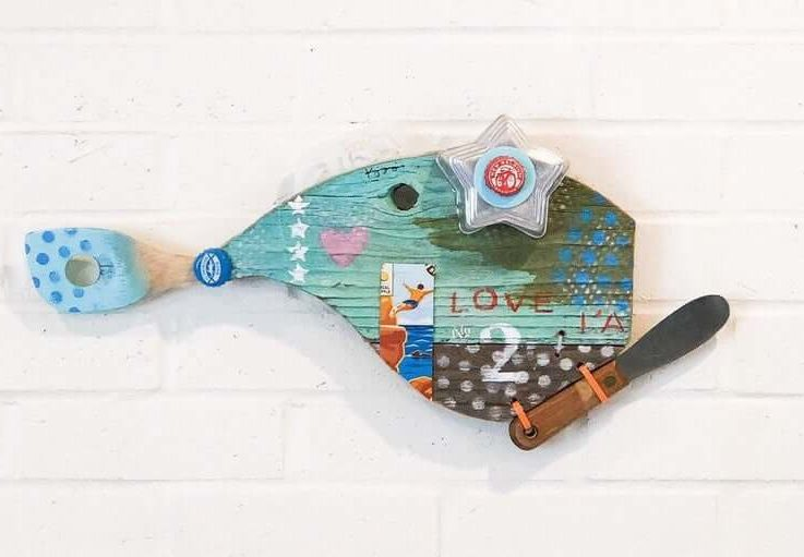 Mini Love Fish No. 2, Driftwood Wall Art, Reclaimed Wood, Green, Mint, Silver, Pink, pesce, pescado , poisson, Recycled Art