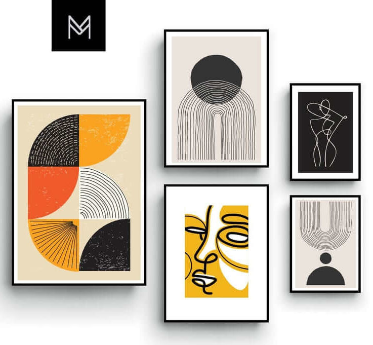 Minimalist Gallery Wall, Print Set, Modern Graphic Posters, Abstract Shapes, Living room, Boho, Bedroom Art, Black and White, Orange Yellow,