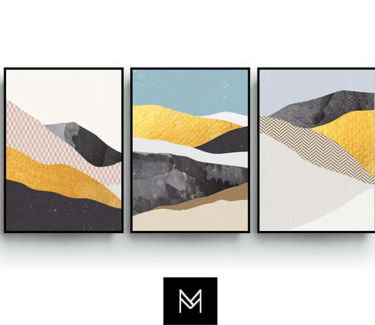 Minimalist Wall Art, Abstract set of 3 Pastel Color Poster, Landscape, Watercolour, Beige, Wawe Mountains, Wall Decor, Gift, Bedroom Art