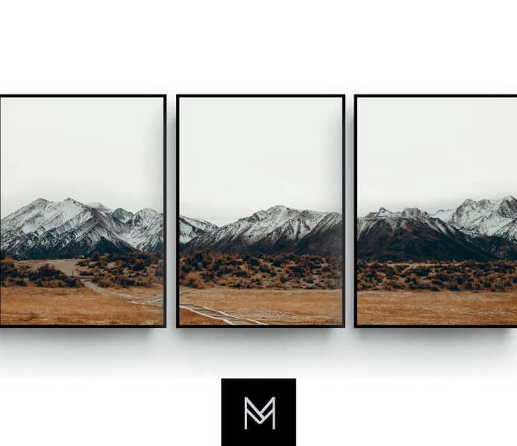 Minimalist wall art, Mountain Landscape, 3 Poster set, Earth tone, Brown, Neutral colors, Living room decor, Bedroom Art, Mid Century Print