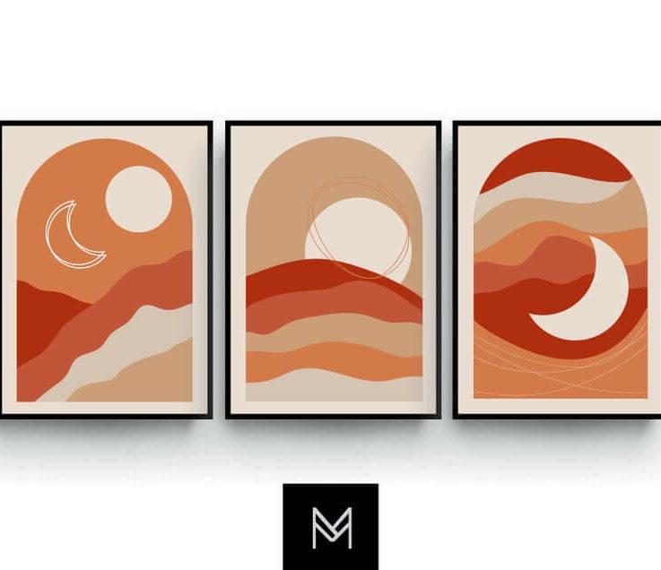 Modern Mid Century Prints, Minimalist Wall Art, Sun and Moon, Boho Poster, Set of 3, Beige Red Orange, Bedroom, Living Room Art, Landscape