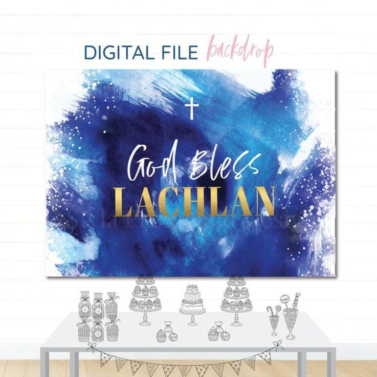 Navy Blue & Gold Printable Backdrop, Party , Watercolour look, Children's Birthday, Baptism Banner, Digital File