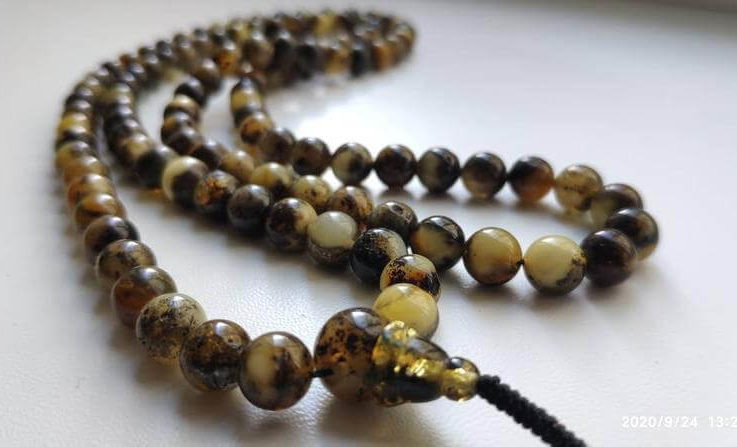 No.43 108 bead amber mala for meditation (size Ø8), buddhist meditation, guru bead, 108 bead mala