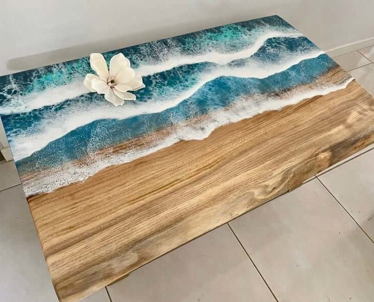 Ocean Resin Coffee Table on Camphor Laurel with Legs - Small