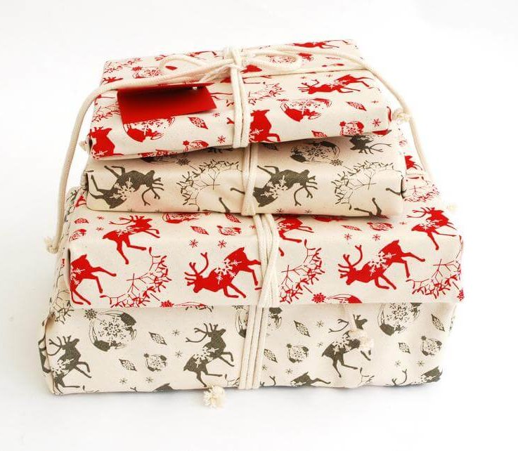 Organic Cotton Gift Wrap, Christmas Reindeer & Baubles Eco Wrapping Plastic Free