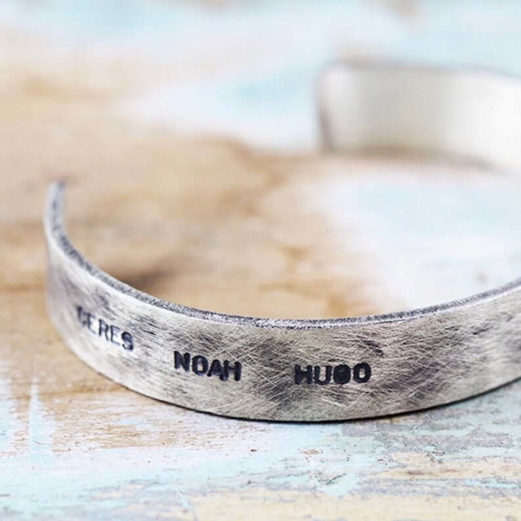 Personalized Hand Stamped Custom Mens Cuff Bracelet, Unique Personal Engraved Cuff Bracelet, Gift For Husband, Guys Urban Initials Jewelry