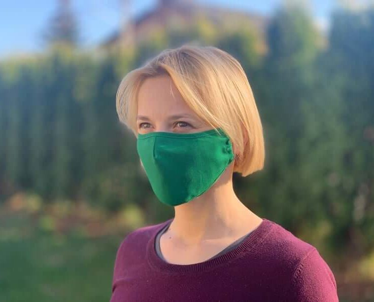 Premium PM2.5 filter face mask. Green. Reusable, cotton. Protect from dust, pollen etc. Fitted design. Beautiful. Lightweight, breathable.