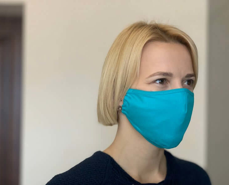 Premium PM2.5 filter face mask. Turquoise. Reusable, eco cotton. Protection from dust, pollen etc. Fitted design. Beautiful, breathable.