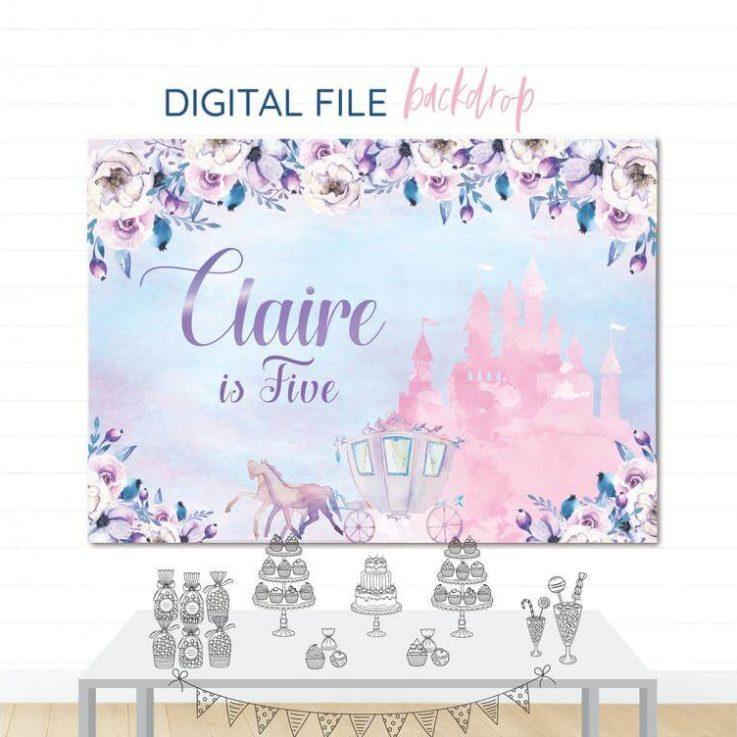 Princess Castle Printable Backdrop, Princess Castle, Party banner , Girls party, Children's Birthday, Baptism Banner, Digital File