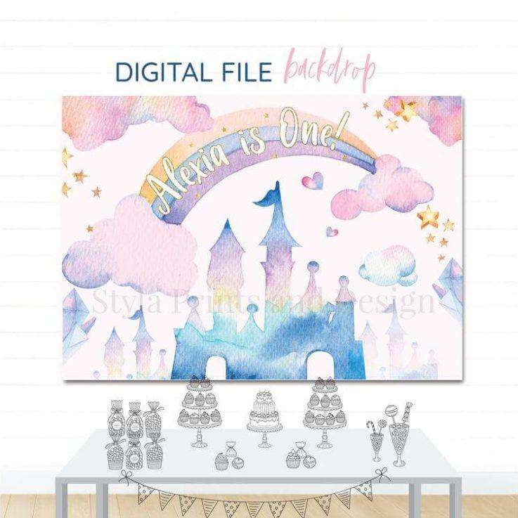 Princess Castle Rainbow Printable Party Backdrop, Dessert Table Banner, Digital File