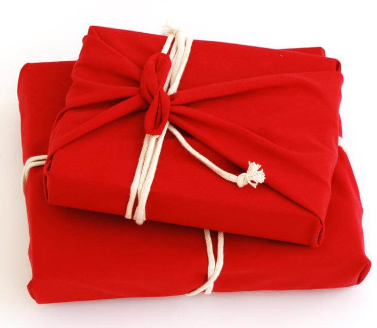 Reusable Cotton Gift Wrap, zero waste plastic free gift wrapping Valentines Red