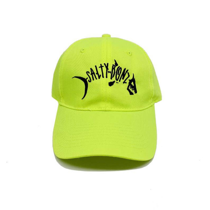 Salty Bonz Six Panel Unstructured Neon Twill Cap with Embroidered Salty Logo