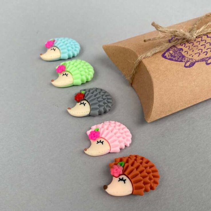 Set of five hedgehog magnets. Cute animal magnets, small fridge magnets. Stocking filler gift.