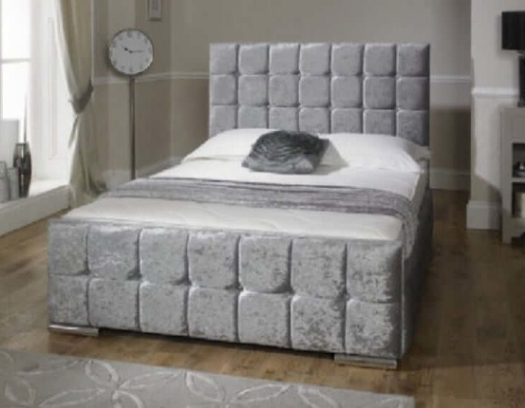 Silver Florida Crush Velvet Bed Frame