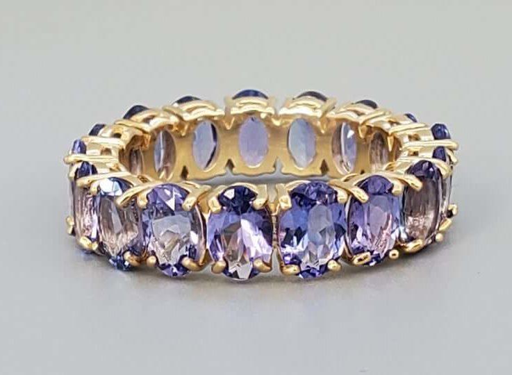 Stunning 10.63 ct Tanzanite Eternity Band - Fine Jewelry Ring