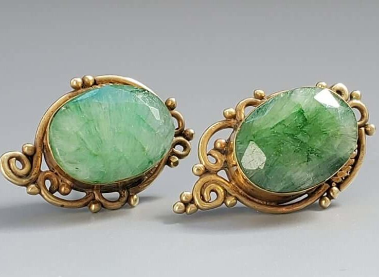 Stunning Vintage Natural Emerald Filigree Earrings - Fine Jewelry