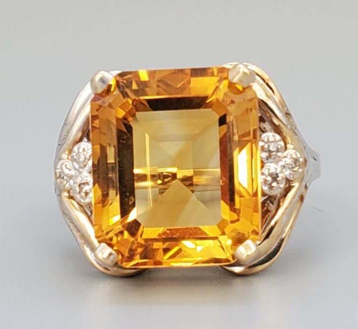 Vintage Citrine Diamond Cocktail Ring - Fine Jewelry Statement