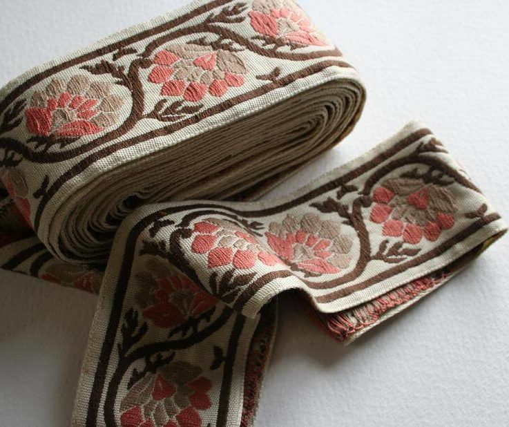 WIDE Vintage Upholstery Ribbon Trim Rust Brown Pink Gray Grey Floral and Vine Motif 4 Meters