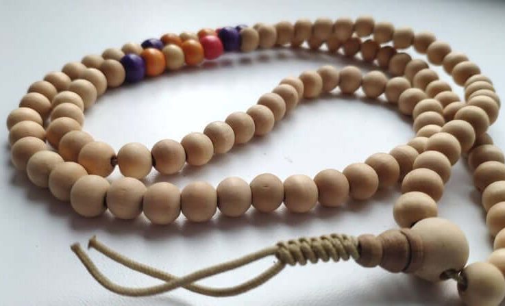 Wood mala (size Ø9.9), buddhist meditation, guru bead, 108 bead mala 31