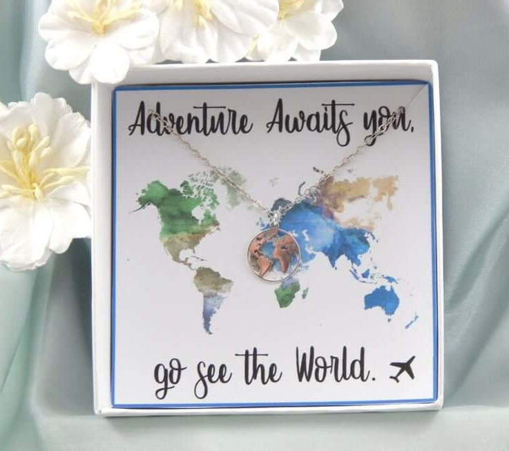 World Map Necklace,Travel Necklace,Map of the World Necklace,Graduation Gift,Gap Year Gift,Travelling the World Necklace,Wanderlust necklace