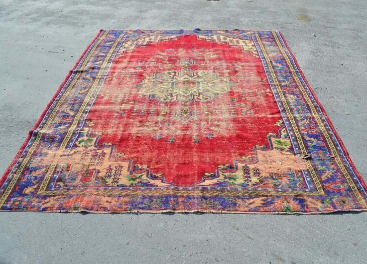 turkish oushak rug handmade rug natural wool rug FREE SHIPPING7.9x10.1 ft oversized rug decorative rug home decor rug RC2795