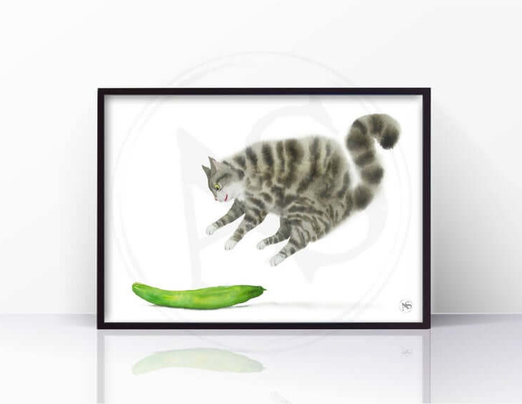 Сat scared by a cucumber Cat Print. Cat Art, Cat Lover Gift, Wall Decor, Watercolor Art, Living Room Decor, Wall Art