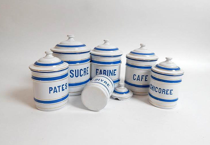 6 French Vintage Enamelware Canisters Complete Set with Lids Prussian Blue