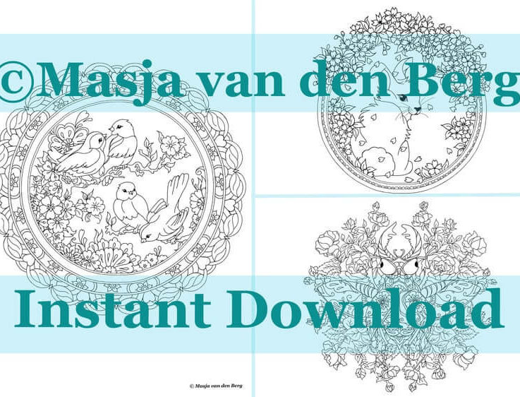 A taste of Masja's Mandala's Spring Coloring pages (3designs) download