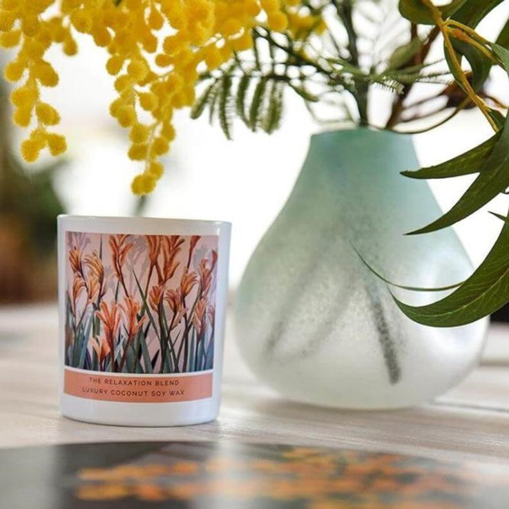 Artisan Coconut Soy Candle - Relaxation Blend Rose geranium Lavender Essential Oils