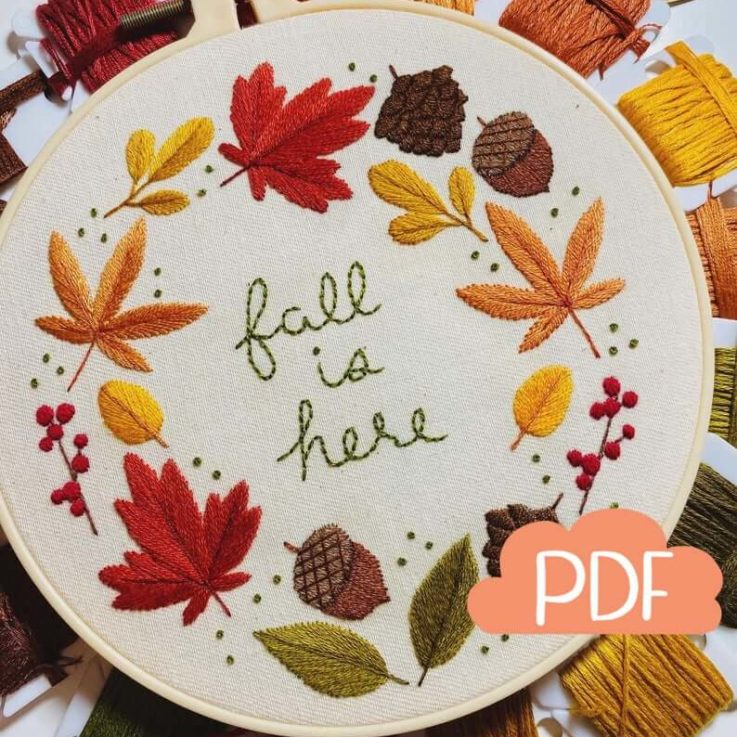 Autumn Series - Autumn Wreath - Fall Is Here - Embroidery Pattern - PDF Instant Digital Download - Now with DMC colour codes!