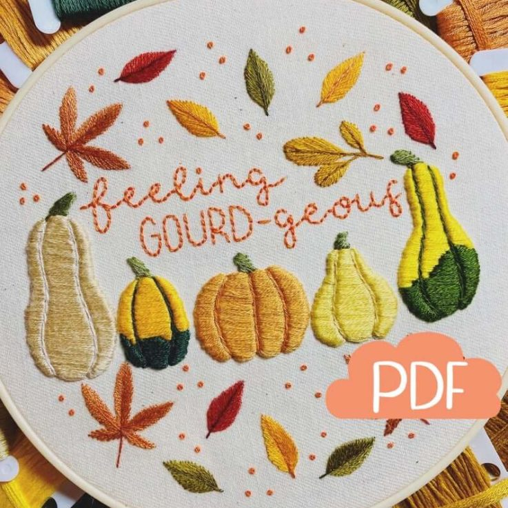 Autumn Series - Feeling GOURDgeous - Embroidery Pattern - PDF Instant Digital Download - Now with DMC colour codes!