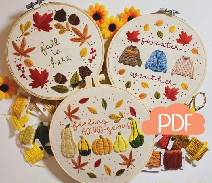 Autumn Series SET - Fall Wreath - Sweater Weather - Feeling GOURDgeous - 3 Embroidery Patterns - PDF Instant Digital Download - DMC colours!