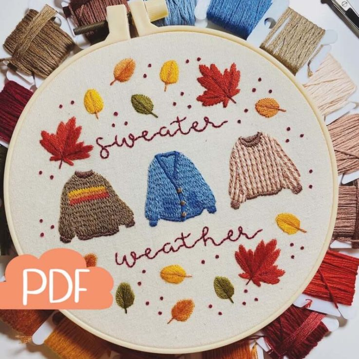 Autumn Series - Sweater Weather - Embroidery Pattern - PDF Instant Digital Download - Now with DMC colour codes!
