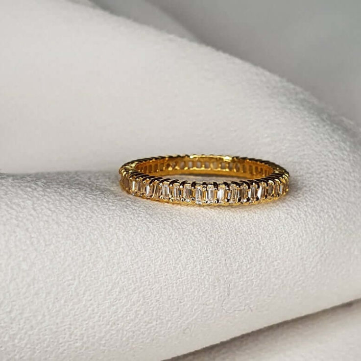 Baguette Ring Baguette Eternity Band Dainty Ring Promise Ring Engagement Ring Wedding Ring Cz Eternity Ring Cz Band
