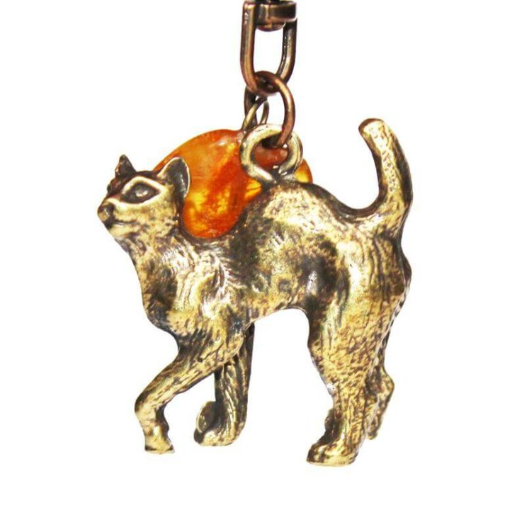 Beautiful Cat and Amber Tumble Keyring, perfect unique gift. Accessory for keys or handbag. Keychains and Lanyards amber accessory
