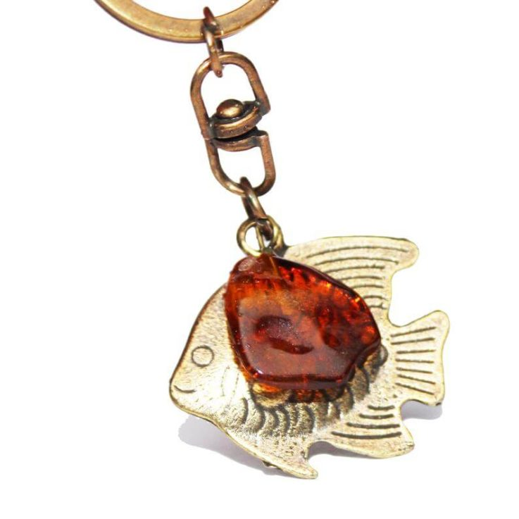 Beautiful Fish and Amber Tumble Keyring, perfect unique gift. Accessory for keys or handbag. Keychains and Lanyards amber accessory