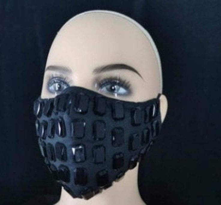Black Beauty gorgeous high-quality bling rhinestone fashion face mask shiny sparkly washable breathable mask 2 filters and metal nose bridge
