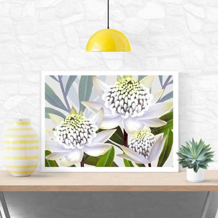 Botanical,Original Art,Australian White Waratah,Flower Print,Flower Artwork,