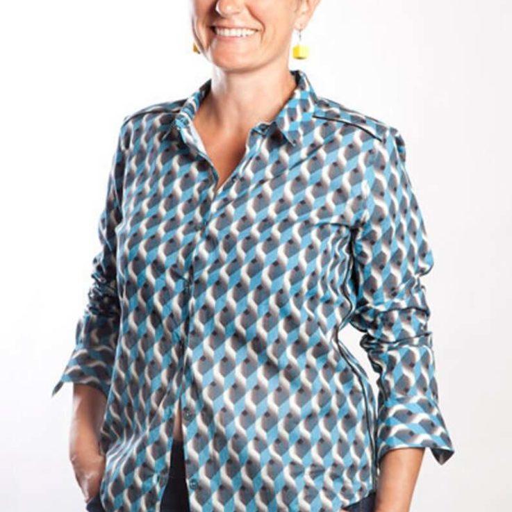 Chemise graphique femme motif 3D impression digitale chemise manche longue en coton léger