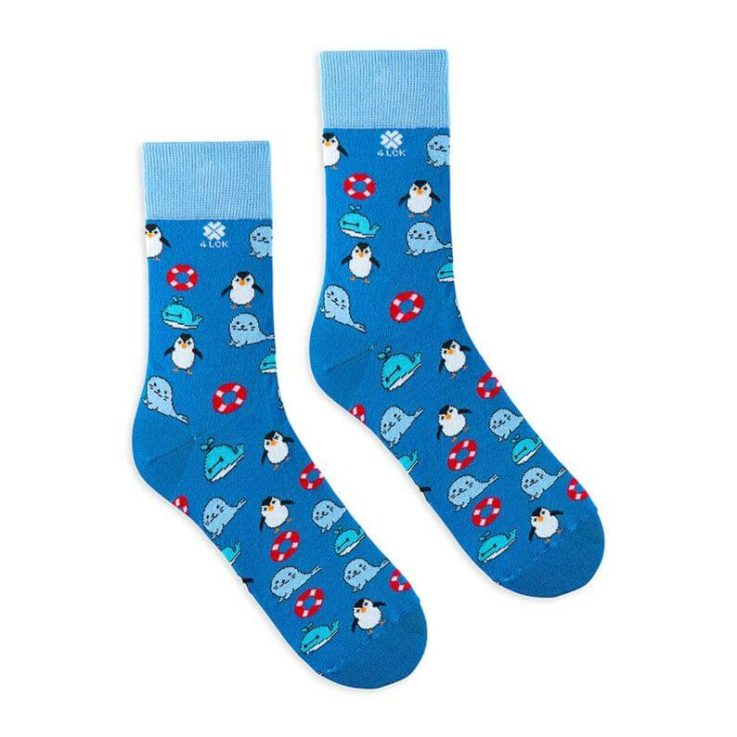 Colourful socks with whale, seal and pinguin on blue background