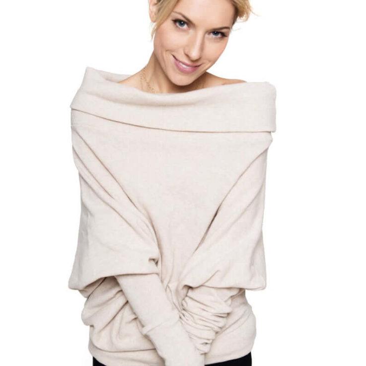 Cream Sweater, Wool Sweater, Asymmetrical Sweater, Off Shoulder Top, Winter Sweater, Loose Sweater, Minimalist Clothing, Elegant Sweater le muse