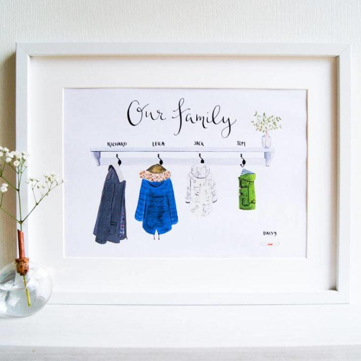 Custom Illustrated family art print Family portrait Raincoats
