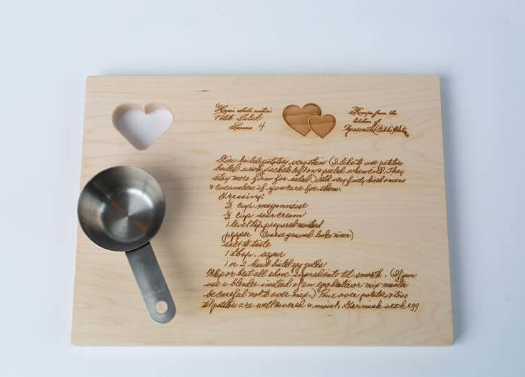 Custom Maple Cutting Board, Engraved Cutting Board with Recipe, Personalized Mother's Day Gift, Cherry Wood Recipe Board, Handwritten Recipe